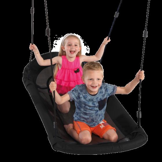 sampa nest swing with two children swinging